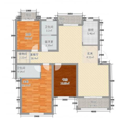 映象西班牙3室2厅2卫1厨152.00㎡户型图