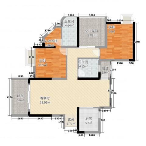 城建・君悦城2室1厅2卫1厨123.00㎡户型图
