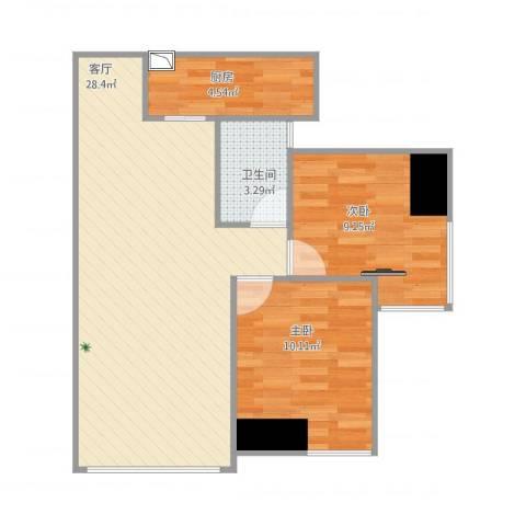 中玮海润广场2室1厅1卫1厨78.00㎡户型图