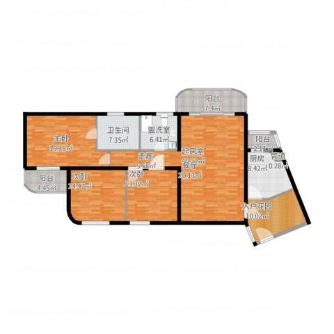 新家坡美树馆3室1厅1卫1厨188.00㎡户型图