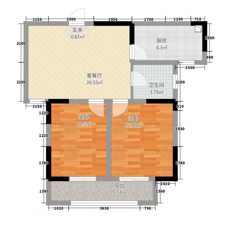 龙湖红叶山庄88.00㎡A户型2室2厅1卫1厨