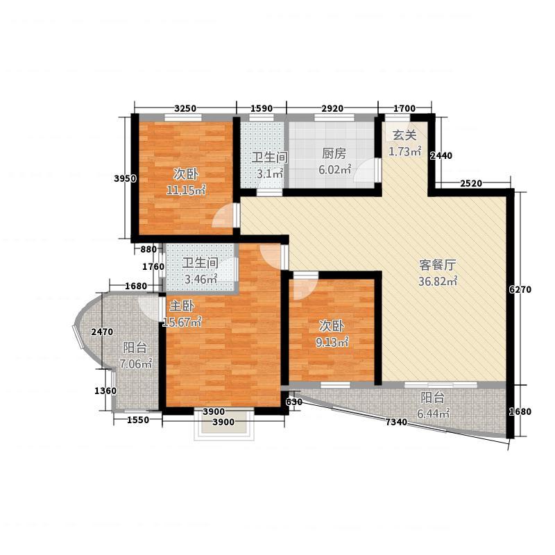 云山喜景13117.35㎡A1户型3室2厅2卫1厨