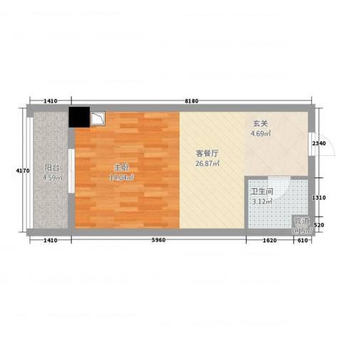 铂金钻・商务中心1厅1卫0厨50.00㎡户型图