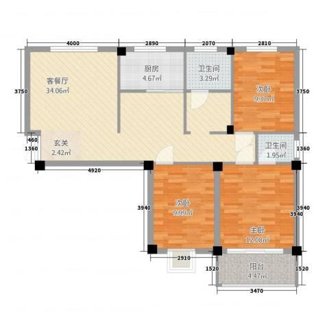 佳境天城3室1厅2卫1厨113.00㎡户型图