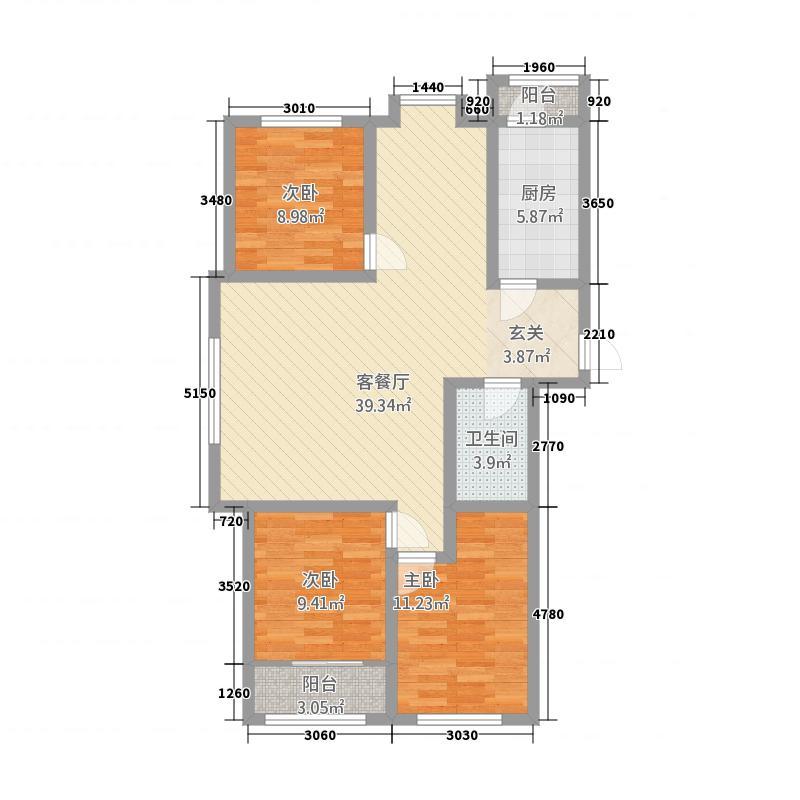 盛世名门11.00㎡4号楼西山户型3室2厅1卫1厨