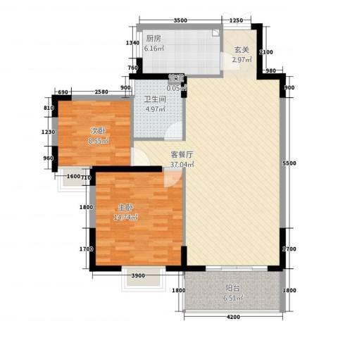 金沙龙山水怡花园2室1厅1卫1厨78.03㎡户型图