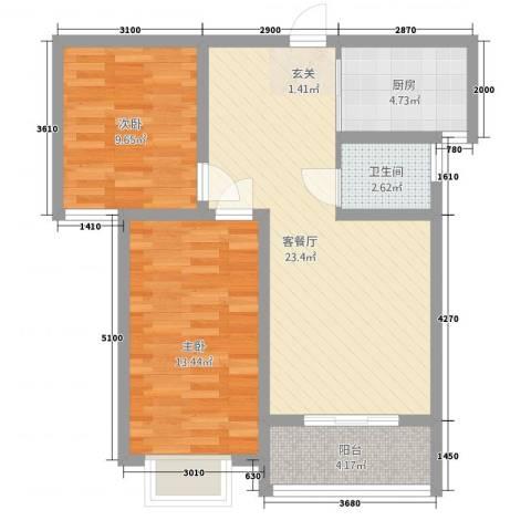 三峰万和国际2室1厅1卫1厨84.00㎡户型图