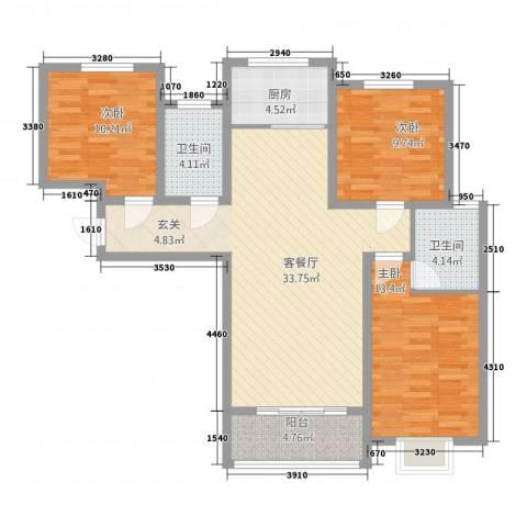 三峰万和国际3室1厅2卫1厨122.00㎡户型图