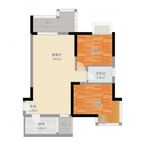 国明・皇御苑2室1厅1卫1厨97.00㎡户型图