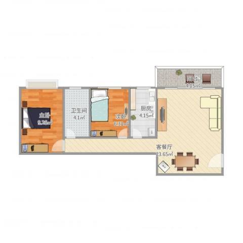 华林东盛花园2室1厅1卫1厨70.00㎡户型图