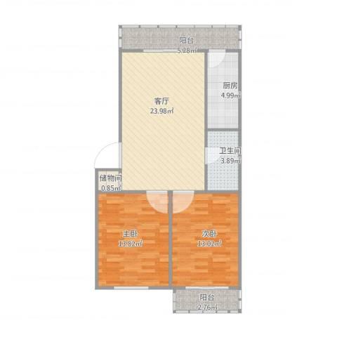 龙泉里2室1厅1卫1厨93.00㎡户型图