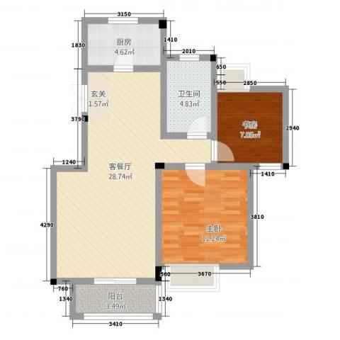 五一花园2室1厅1卫1厨87.00㎡户型图