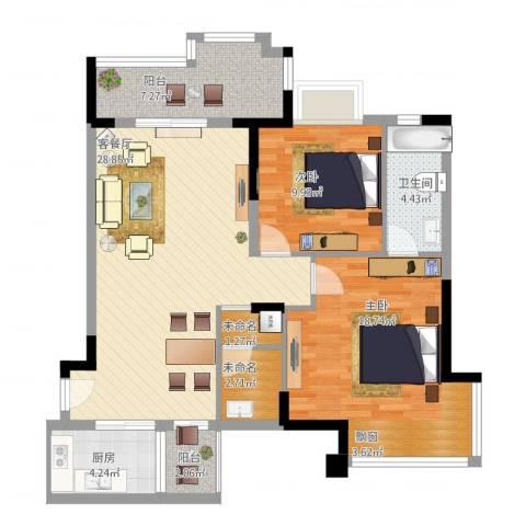 国明・皇御苑2室1厅1卫1厨113.00㎡户型图