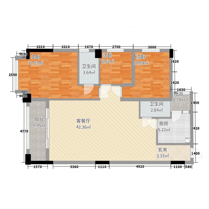 半岛国际412.62㎡A4户型3室2厅2卫1厨