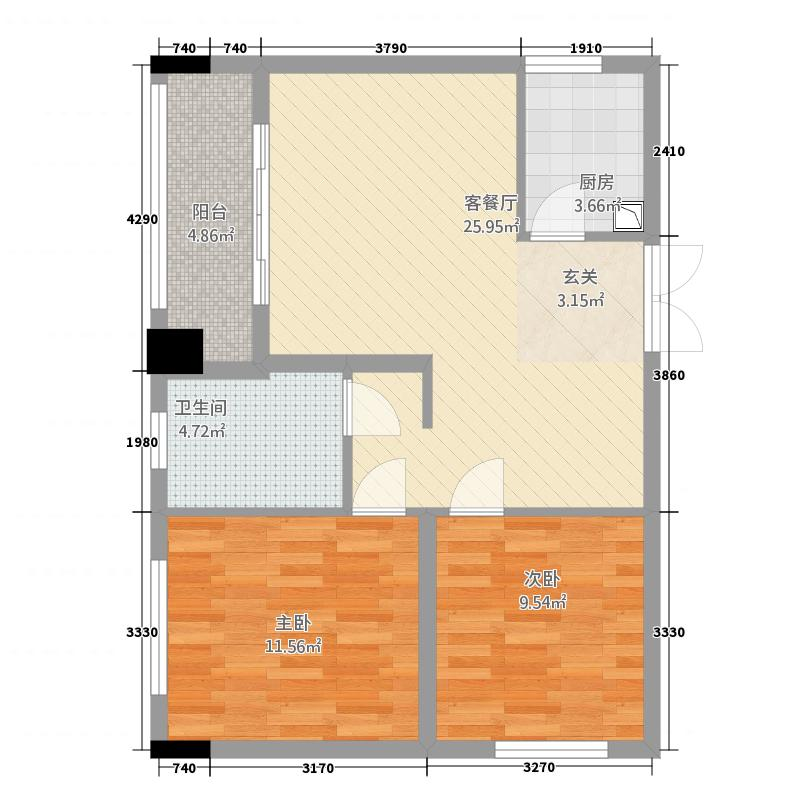 半岛国际385.20㎡A3户型2室1厅1卫1厨