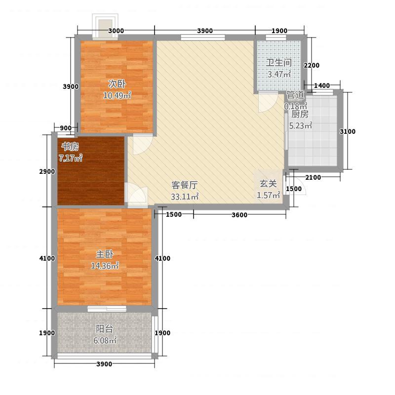 瑞景新城12.00㎡2-E1户型3室2厅1卫1厨