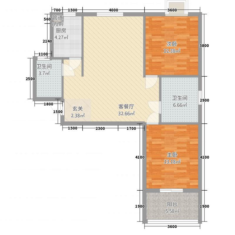 瑞景新城3-A户型3室2厅1卫1厨