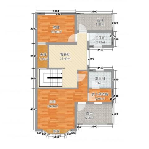 山景轩2室1厅2卫0厨153.00㎡户型图