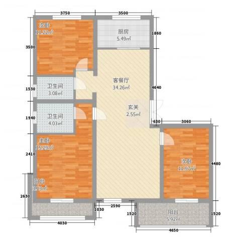 金港第五大道3室1厅2卫1厨135.00㎡户型图