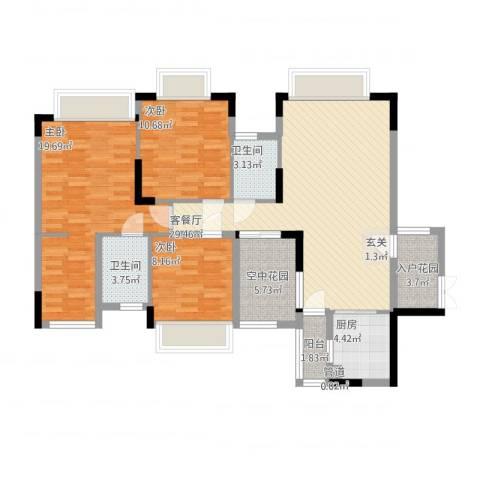 世纪城国际公馆贝丽湖3室1厅2卫1厨130.00㎡户型图