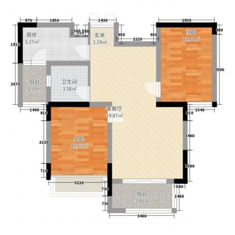 三盛颐景御园2室1厅1卫1厨88.00㎡户型图