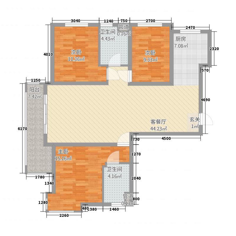 紫阳天玺136.43㎡户型3室2厅2卫