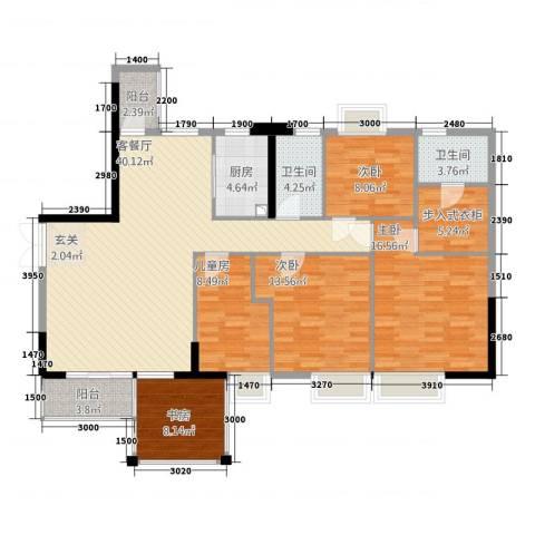 馨荔苑5室1厅2卫1厨166.00㎡户型图