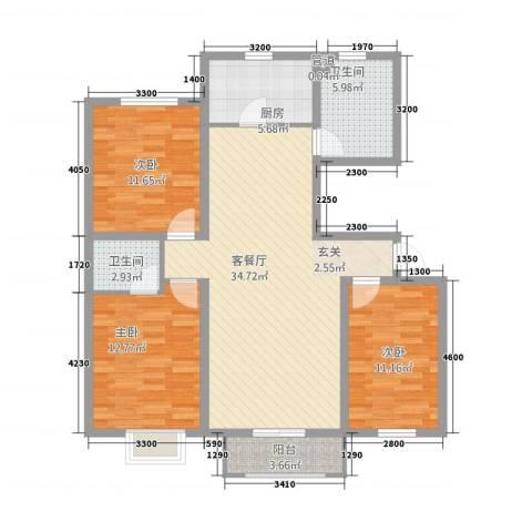 山景轩3室1厅2卫1厨126.00㎡户型图