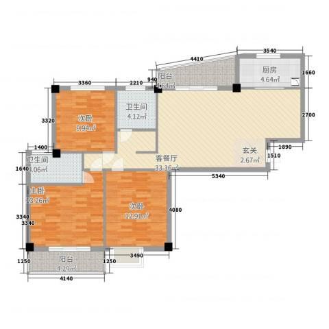 翠堤春晓3室1厅2卫1厨129.00㎡户型图