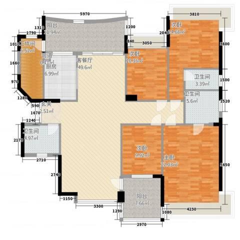 南湖半岛花园4室1厅3卫1厨214.00㎡户型图