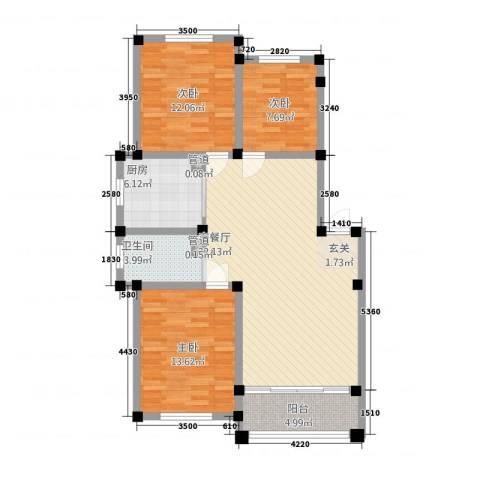 海通时代花园3室1厅1卫1厨116.00㎡户型图