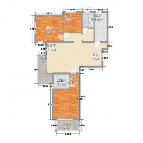 天阔逸城3室1厅2卫1厨133.00㎡户型图