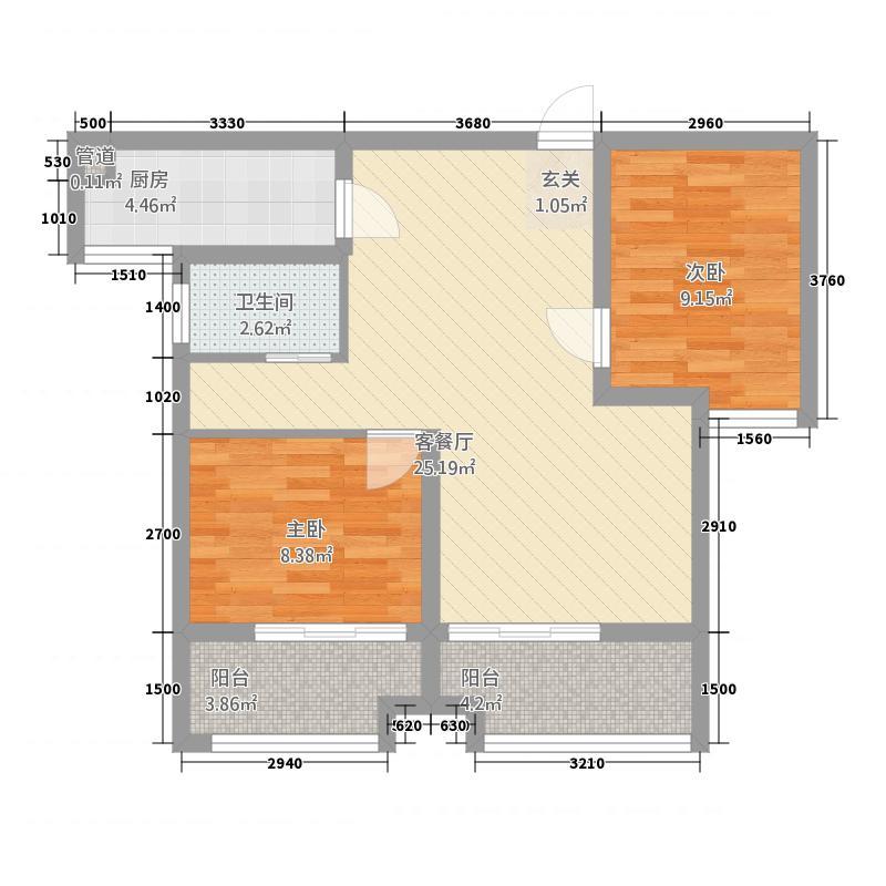 星洲国际城85.27㎡户型2室2厅1卫1厨
