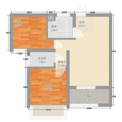 星洲国际城2室1厅1卫1厨48.00㎡户型图