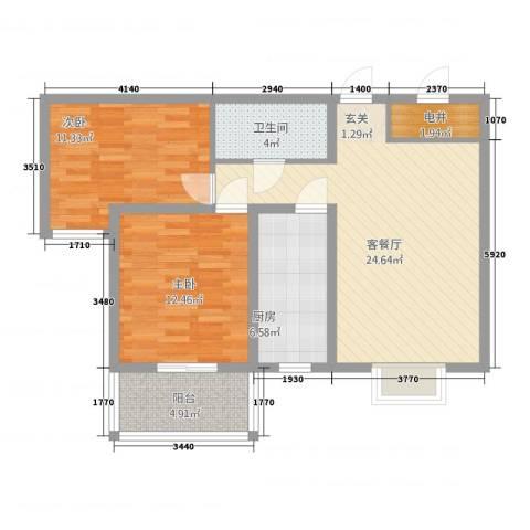 天阔逸城2室1厅1卫1厨65.87㎡户型图