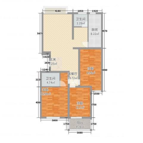 天阔逸城3室1厅2卫1厨104.70㎡户型图