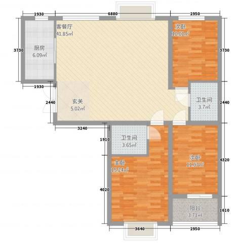 天阔逸城3室1厅2卫1厨134.00㎡户型图