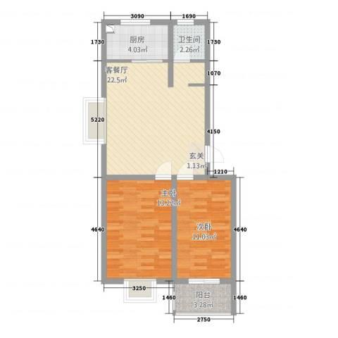 同和佳园2室1厅1卫1厨85.00㎡户型图