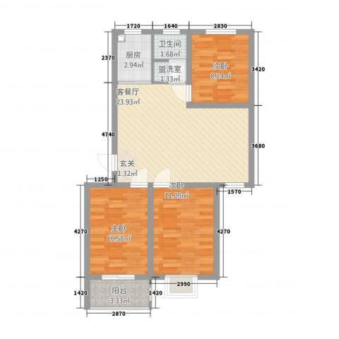 同和佳园3室2厅1卫1厨63.40㎡户型图