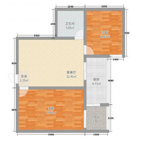 东兴7号2室1厅1卫1厨68.73㎡户型图