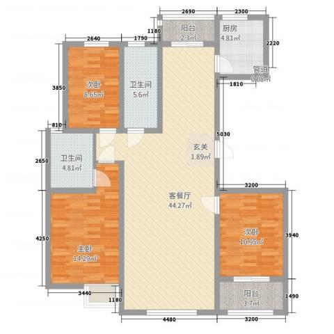 东方骏景3室1厅2卫1厨142.00㎡户型图