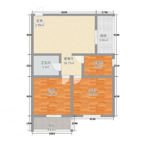 东兴7号3室1厅1卫1厨80.61㎡户型图