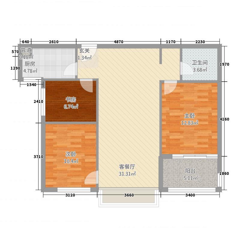 A2户型三室两厅一卫104.92㎡