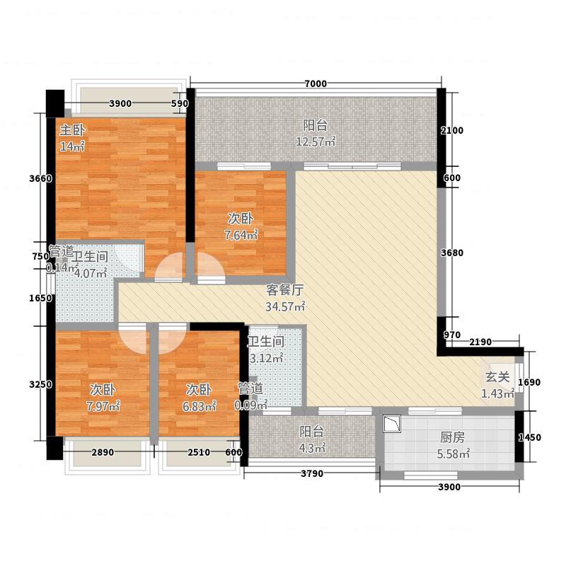 雅景苑17.00㎡户型3室