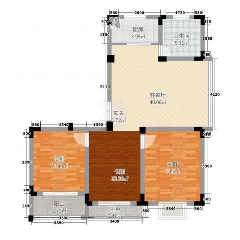 荷花苑2室1厅1卫1厨116.00㎡户型图