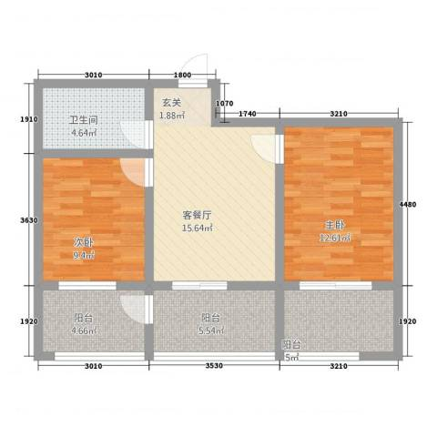 柏杨新苑2室1厅1卫0厨85.00㎡户型图
