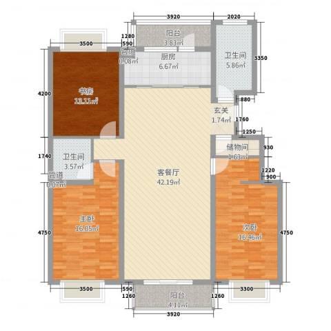 龙城嘉园3室1厅2卫1厨161.00㎡户型图