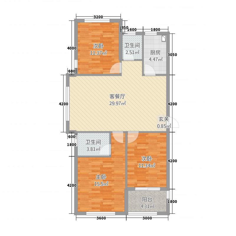 A1户型三室两厅两卫