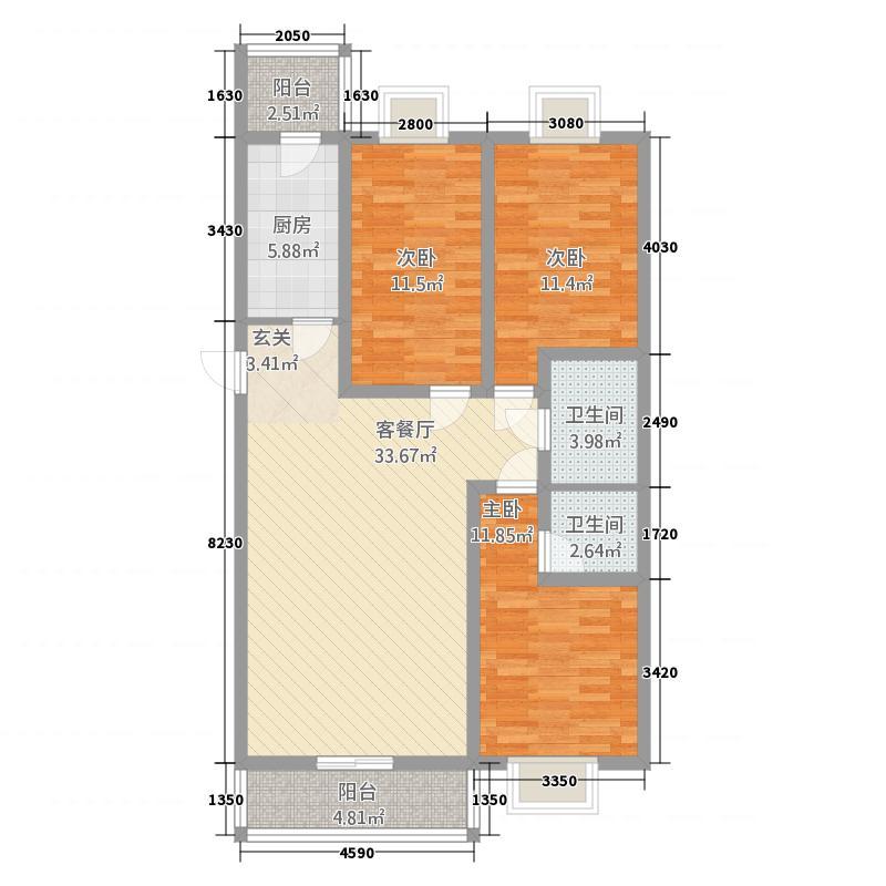 荣泰花园127.22㎡1#楼户型3室2厅2卫1厨