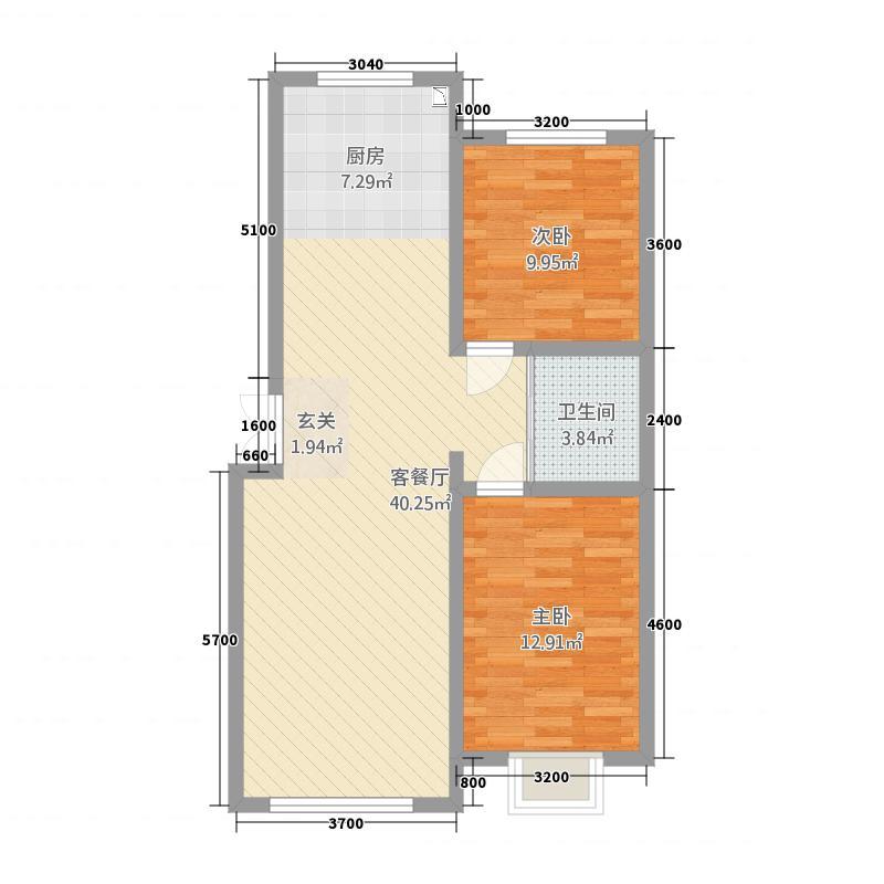 东方俪城2室1厅1卫0厨94.00㎡户型图